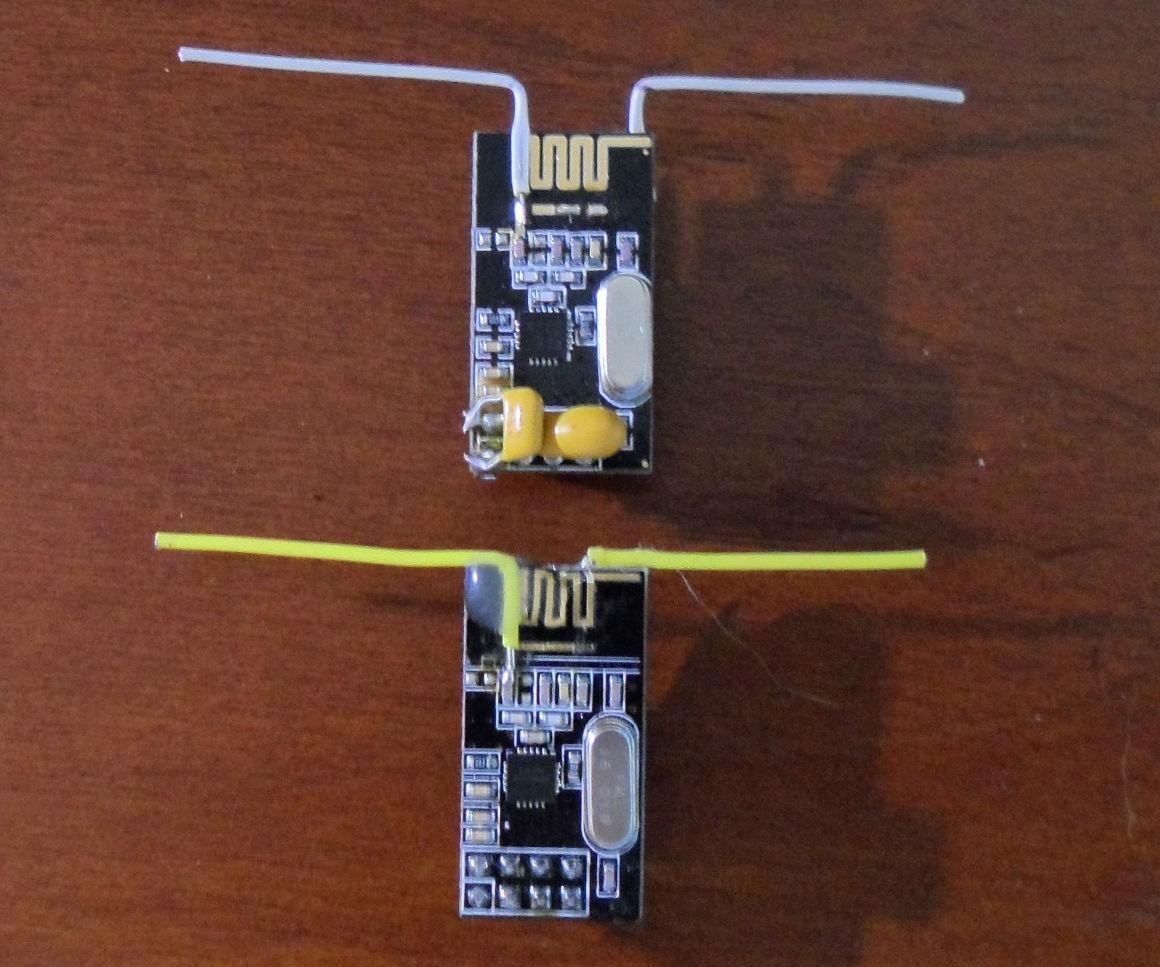 Enhanced NRF24L01 radio with a DIY Dipole Antenna modification.