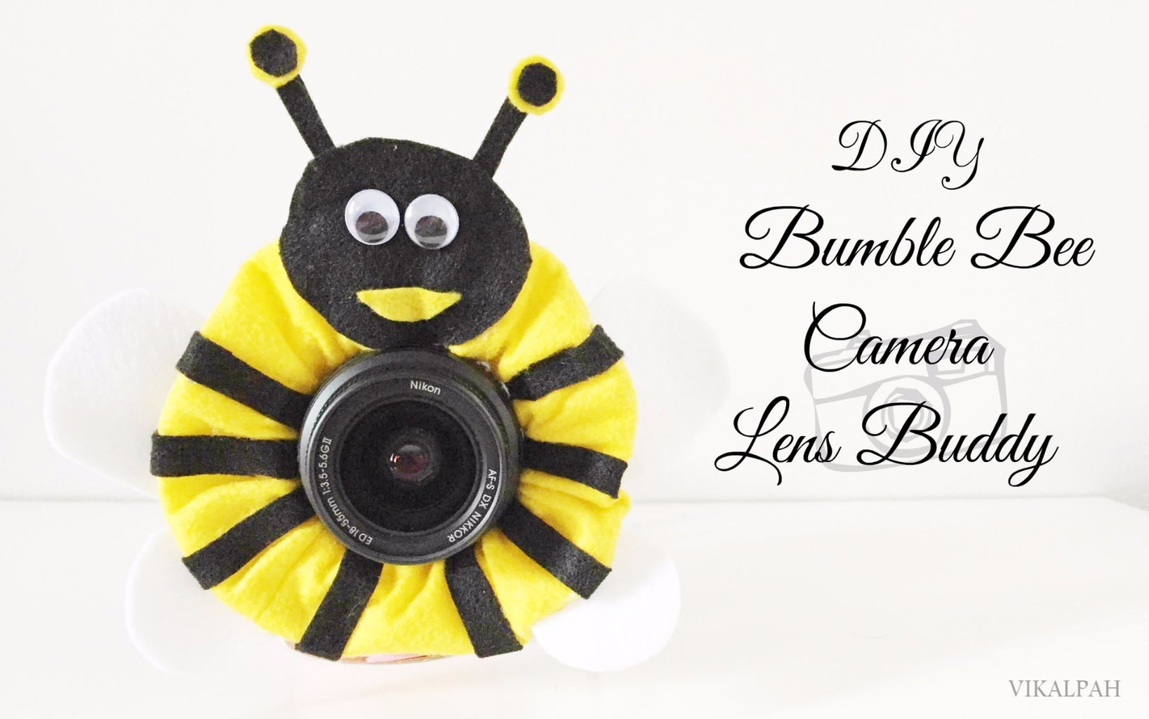 DIY Bumble Bee Camera Lens Buddy for Kids Photography