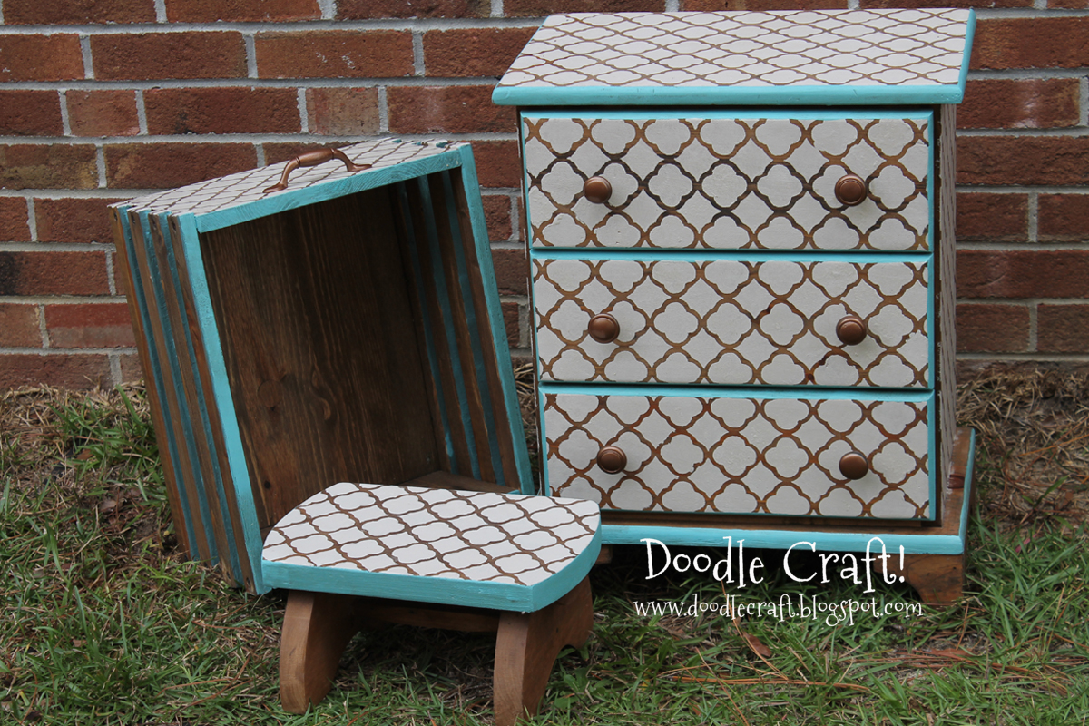 DIY Custom Stencil and Stain Furniture!