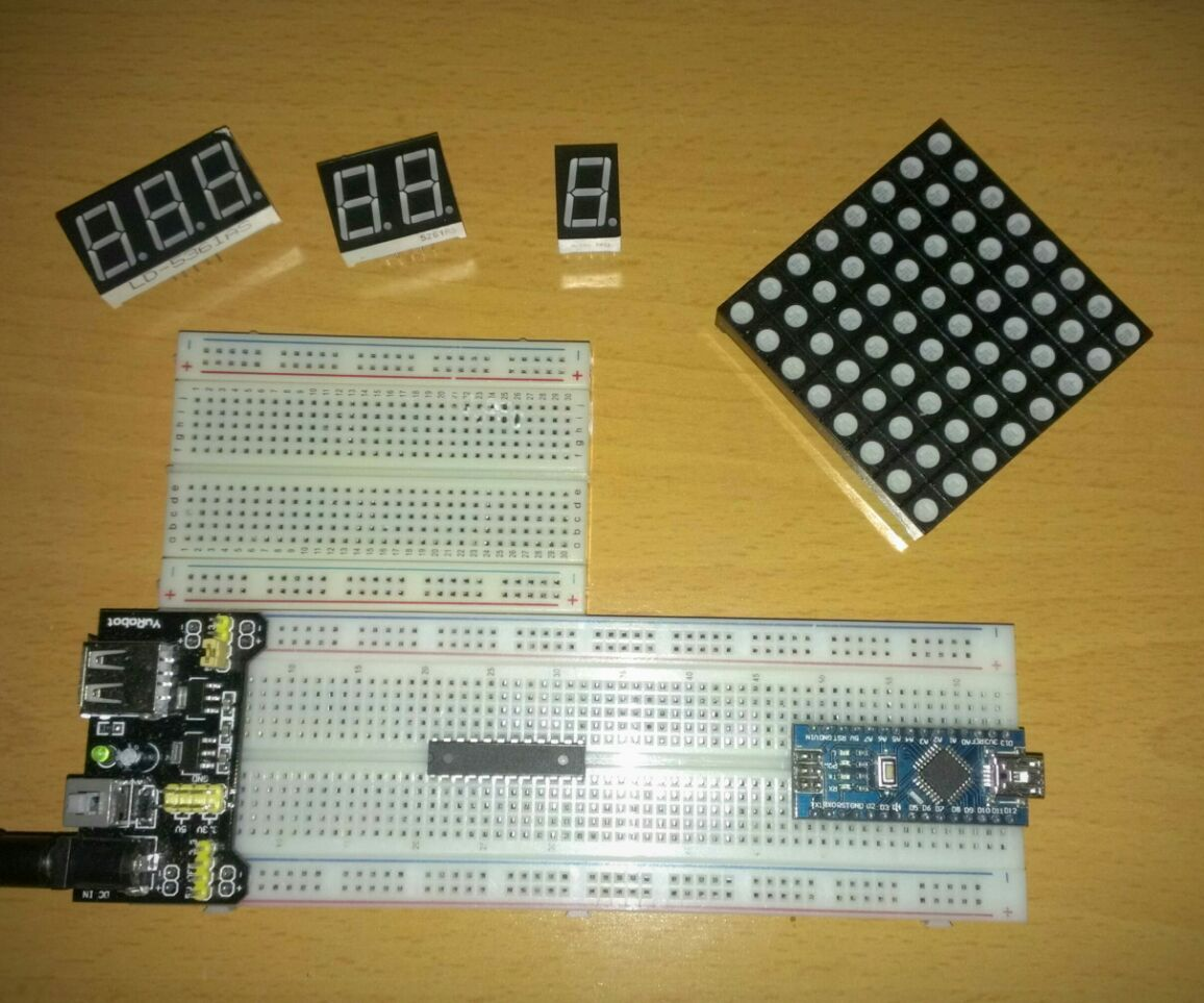 Ejemplo básico con IC MAX7219 (Matriz LED y visualizadores de 7 segmentos)