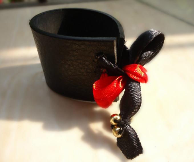 Leather & Satin Ribbon Bracelet