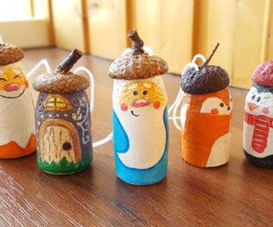 Miniature Christmas Set Out of Wine Corks and Acorn Caps. DIY