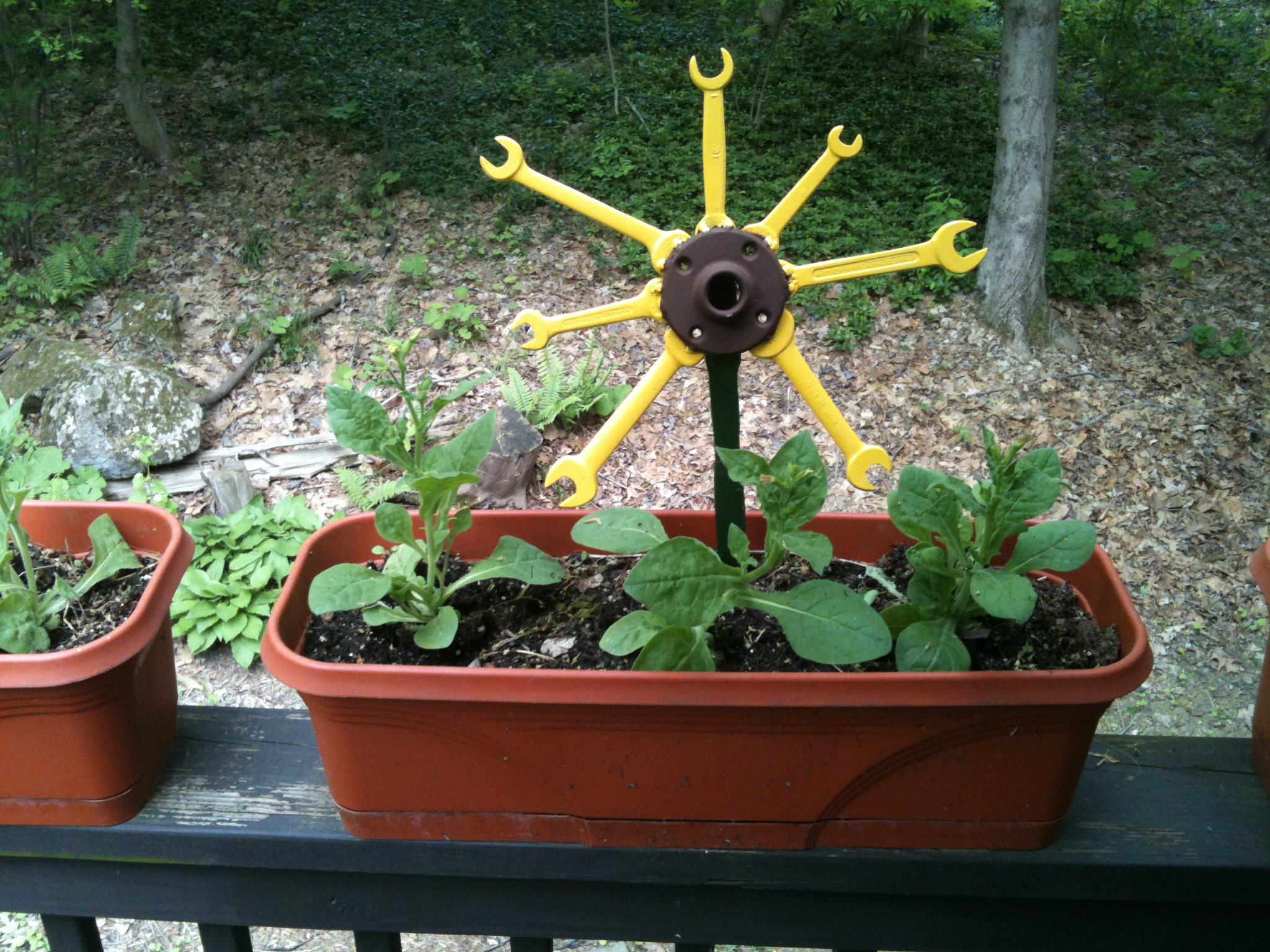 Garden Flowers from rusty wrenches