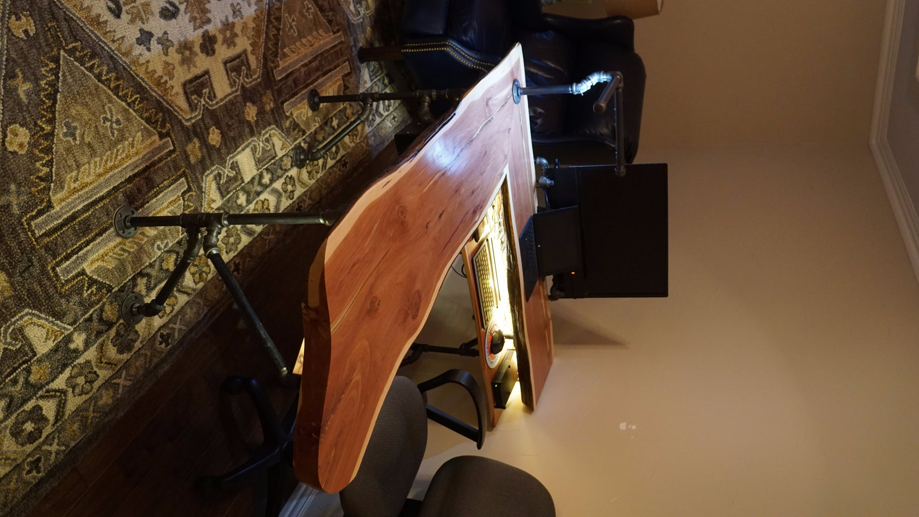Live Edge Cedar Industrial Computer Desk