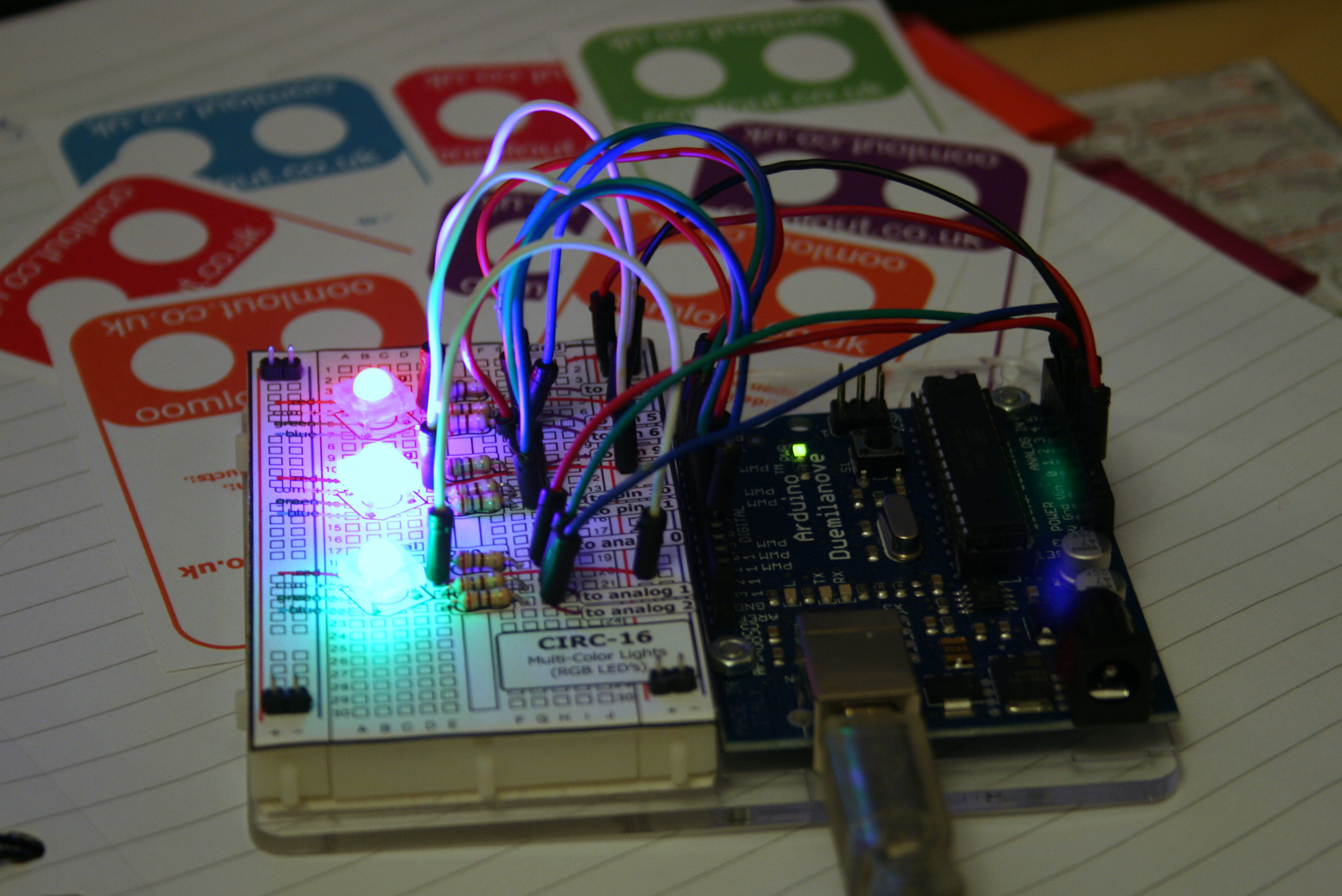 RGB LED Tutorial (using an Arduino) (RGBL)