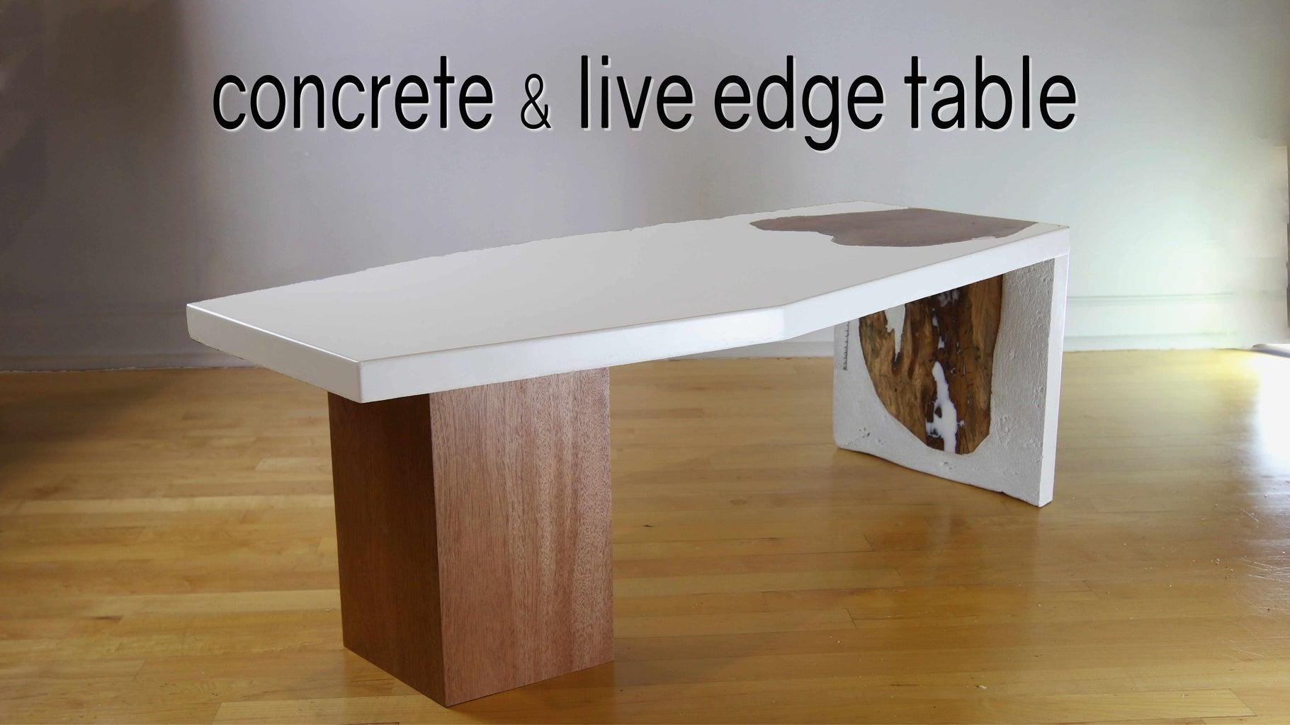 White Concrete & Live-Edge Waterfall Table