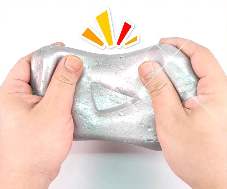 DIY IRON SLIME !! Make Youtube Silver Play Button