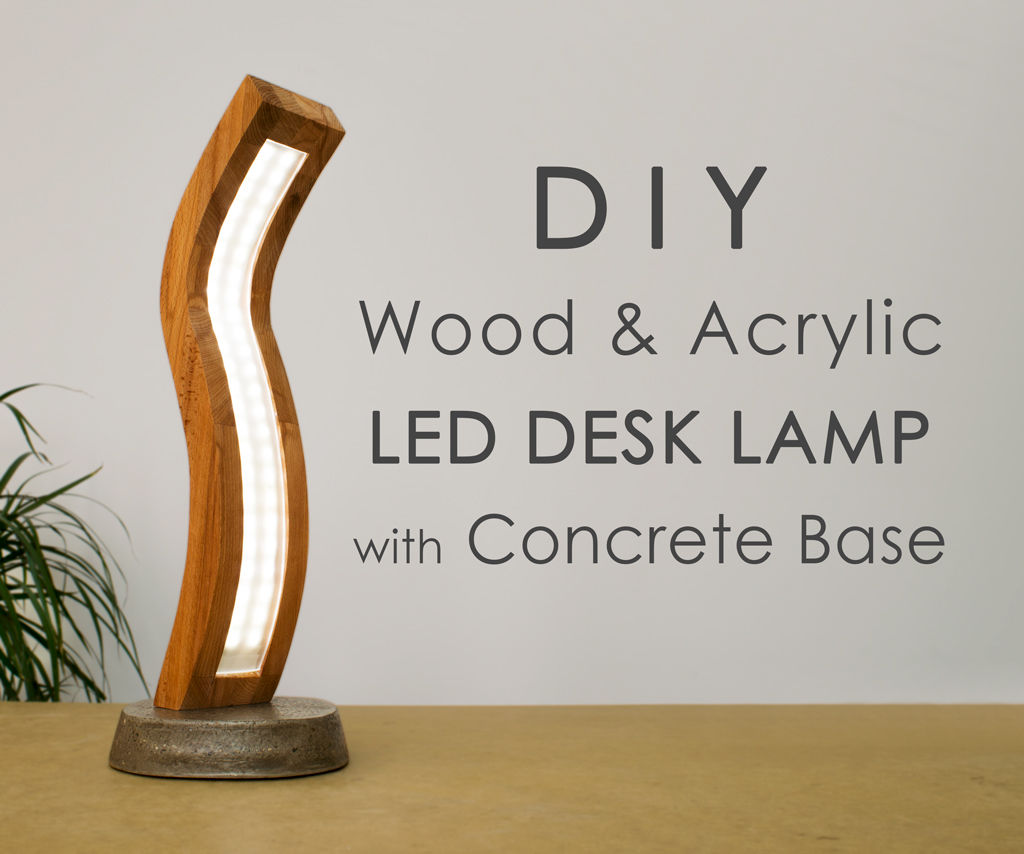 Curved Wood and Acrylic LED Lamp With Concrete Base