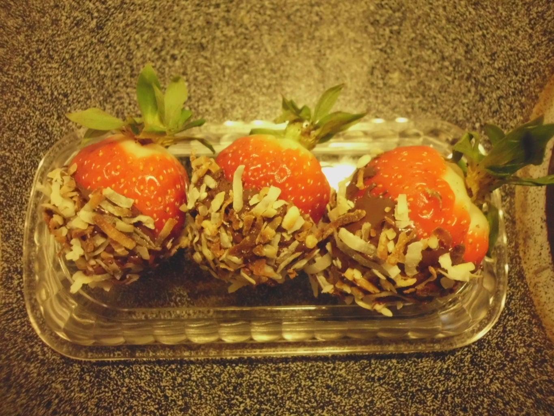 Chocolate Coconut Rum Covered Strawberries