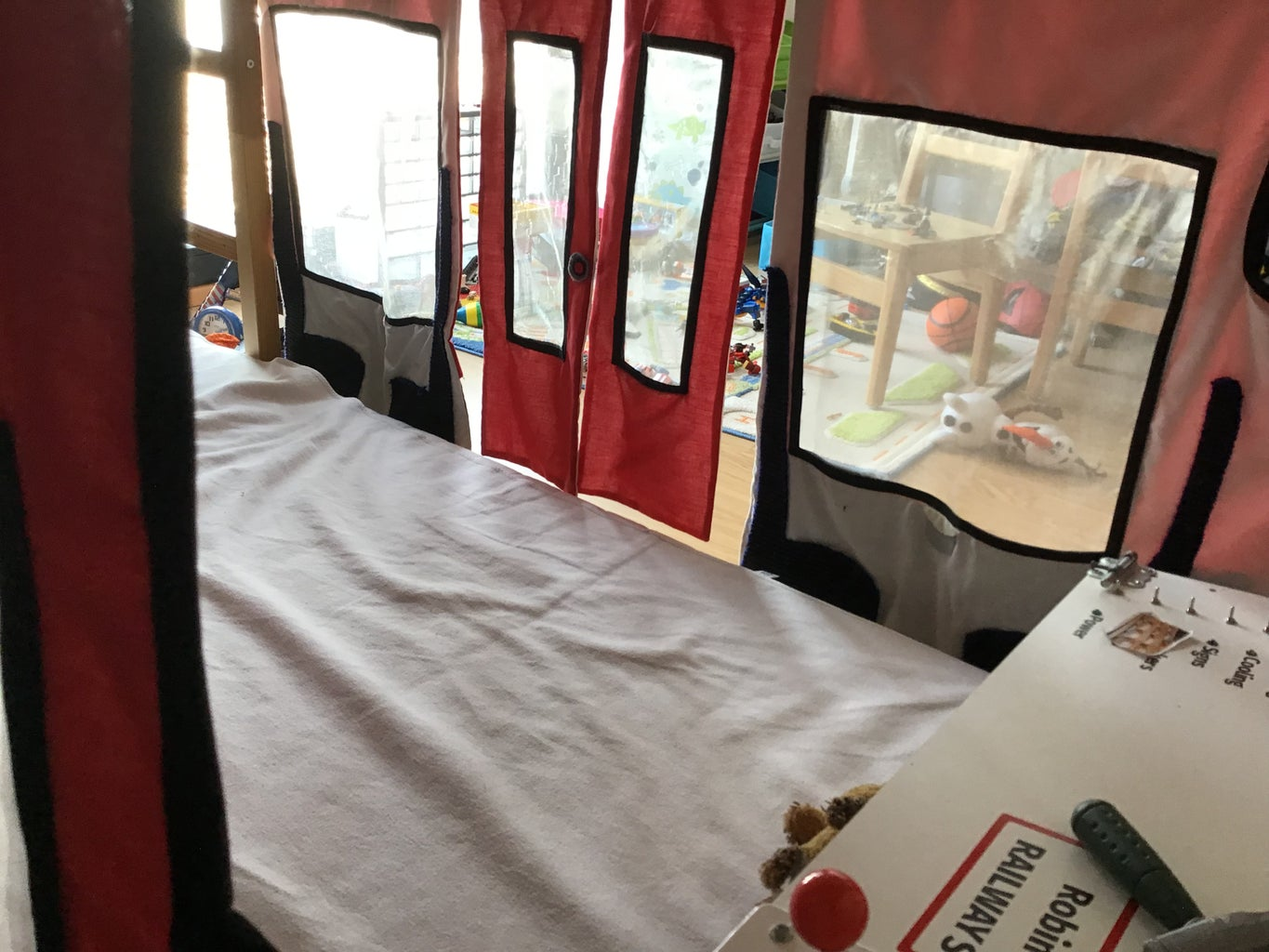 Red Train Bunk Bed Curtains for a Child