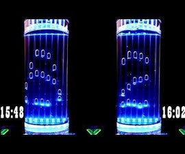 Glowing Air-Bubble Clock in Water
