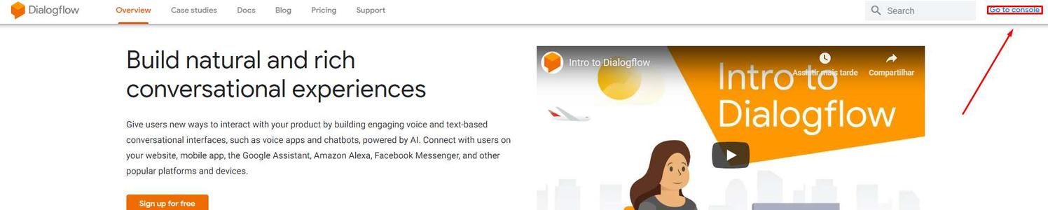 Dialogflow - Console: