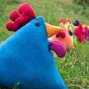 Rainbow Blue Chicken Pillow