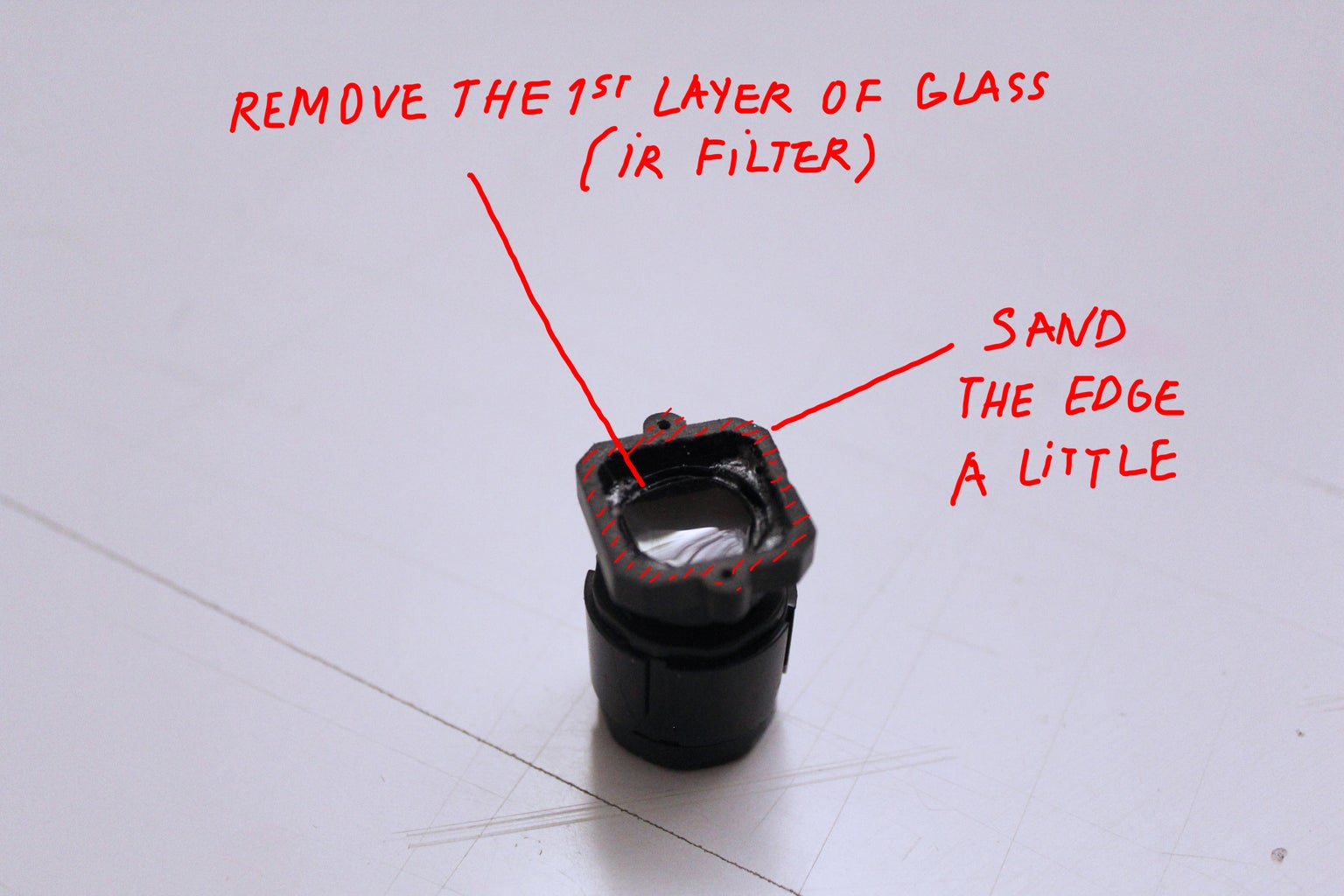 REMOVING THE IR FILTER OF THE CAMERA