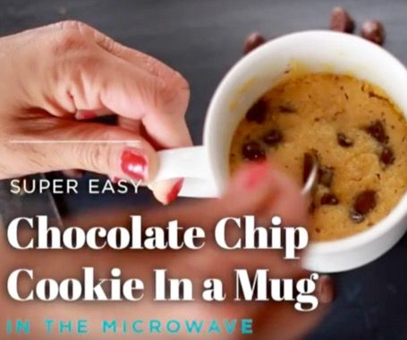 2 Minute Chocolate Chip Microwave Cookie