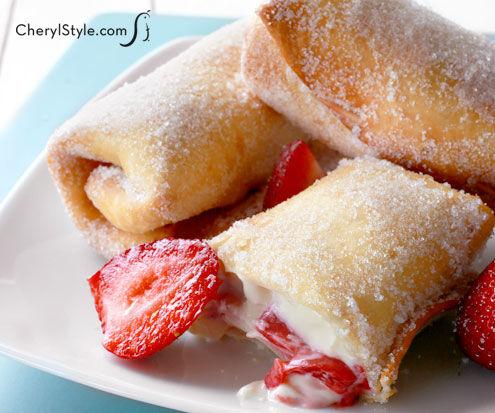 Creating Strawberry CheeseCake Chimichangas