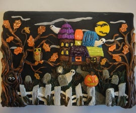 Haunted House Clay Painting