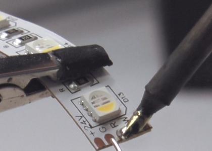 Tin the LED Strip Solder Pads