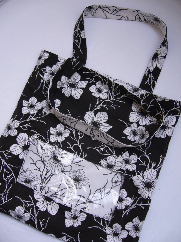 Reversible Tote Bag With Clear Window