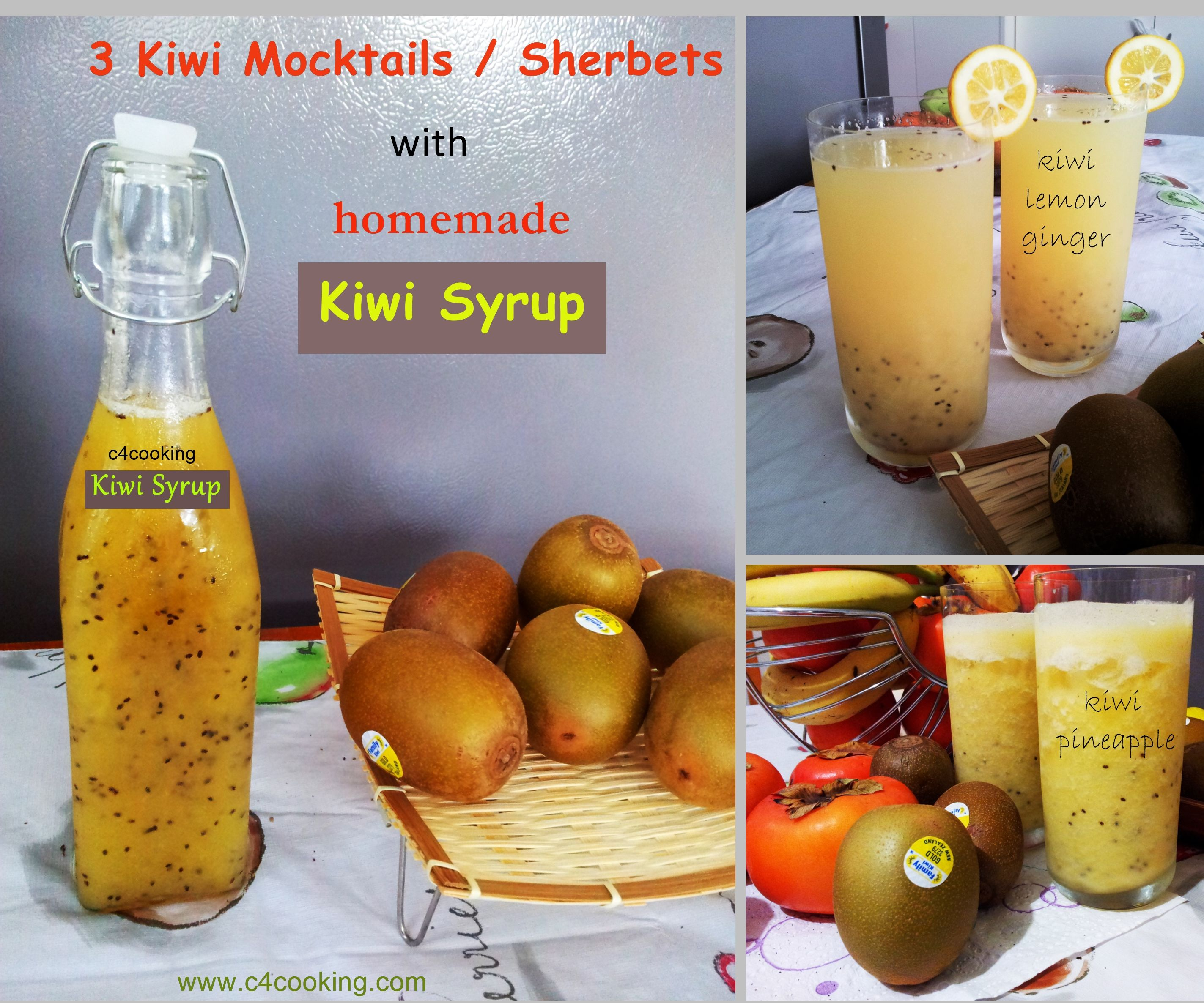 3 Refreshing Kiwi Mocktails / Sherbets With Homemade Kiwi Syrup