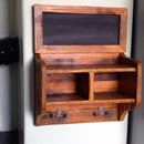 Pallet Wood Coat Rack with Cubbyholes and Chalkboard