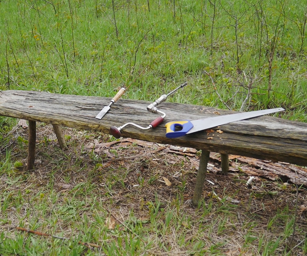 Rustic Campfire Bench With Basic Tools