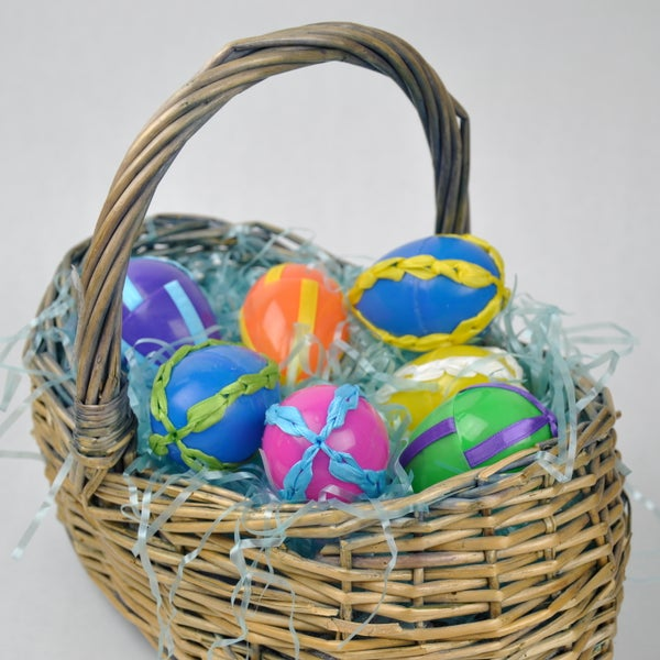 Plastic Easter Eggs With Ribbon