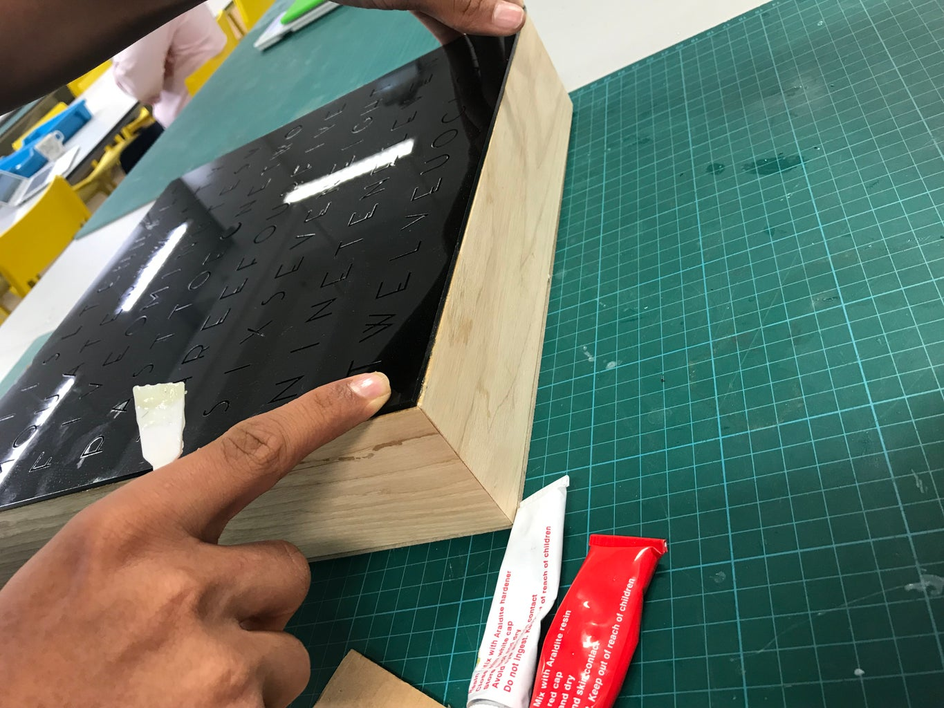 Glueing the Word Panel to the Frame
