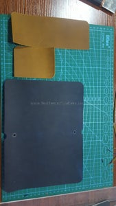 Cut Leather Pieces Off, Shoot Loose Leaf Binder Holes.