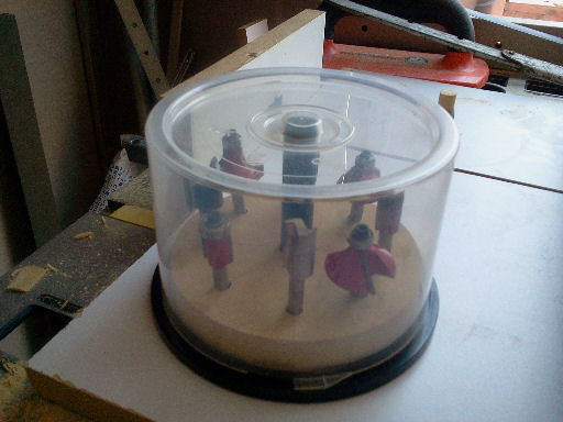 CD case storage for router & drill bits