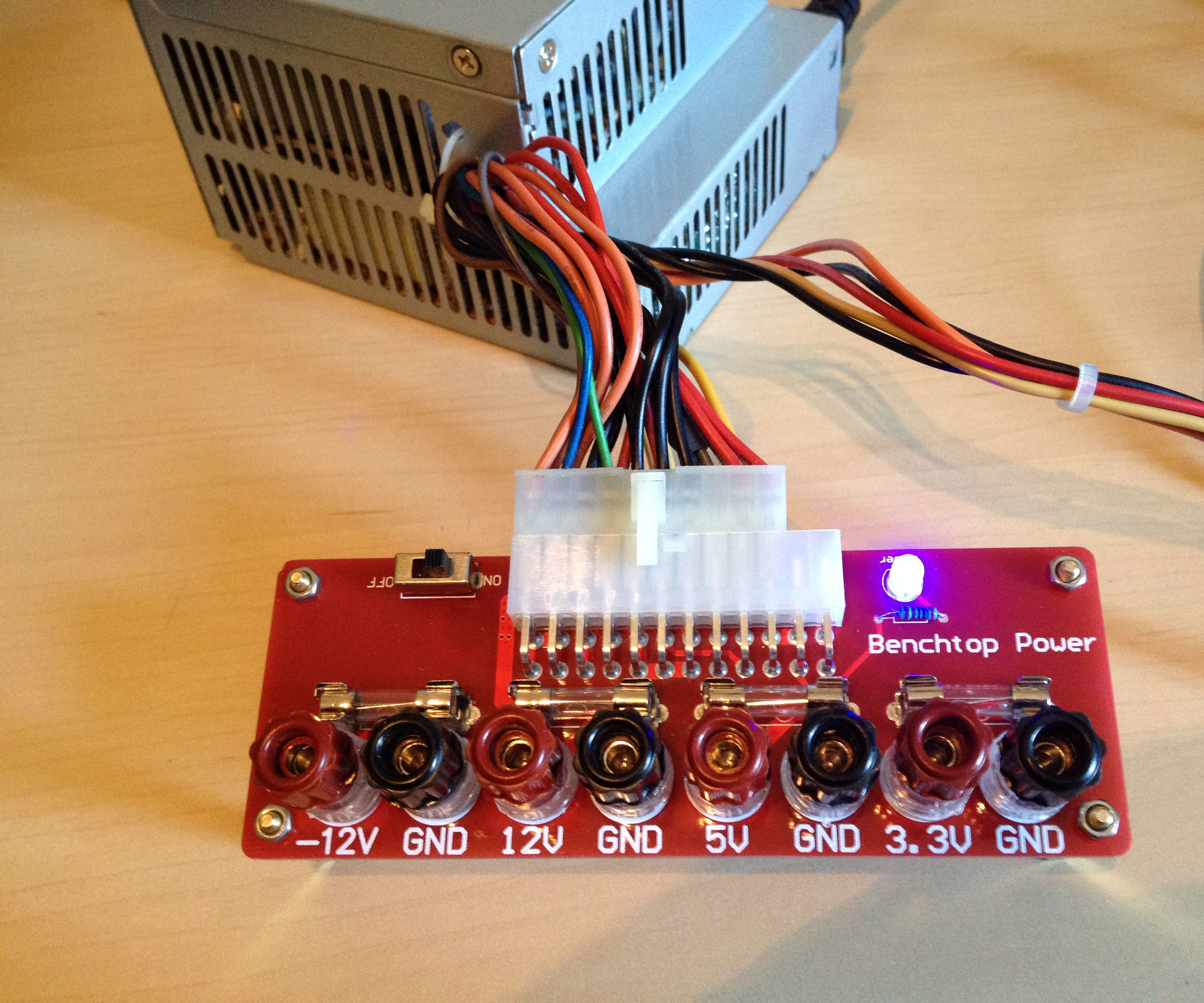 Convert a computer power supply to a lab bench using ATX breakout board
