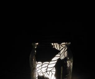 DIY PaperCut Pattern Mason Jar Lamp Booth