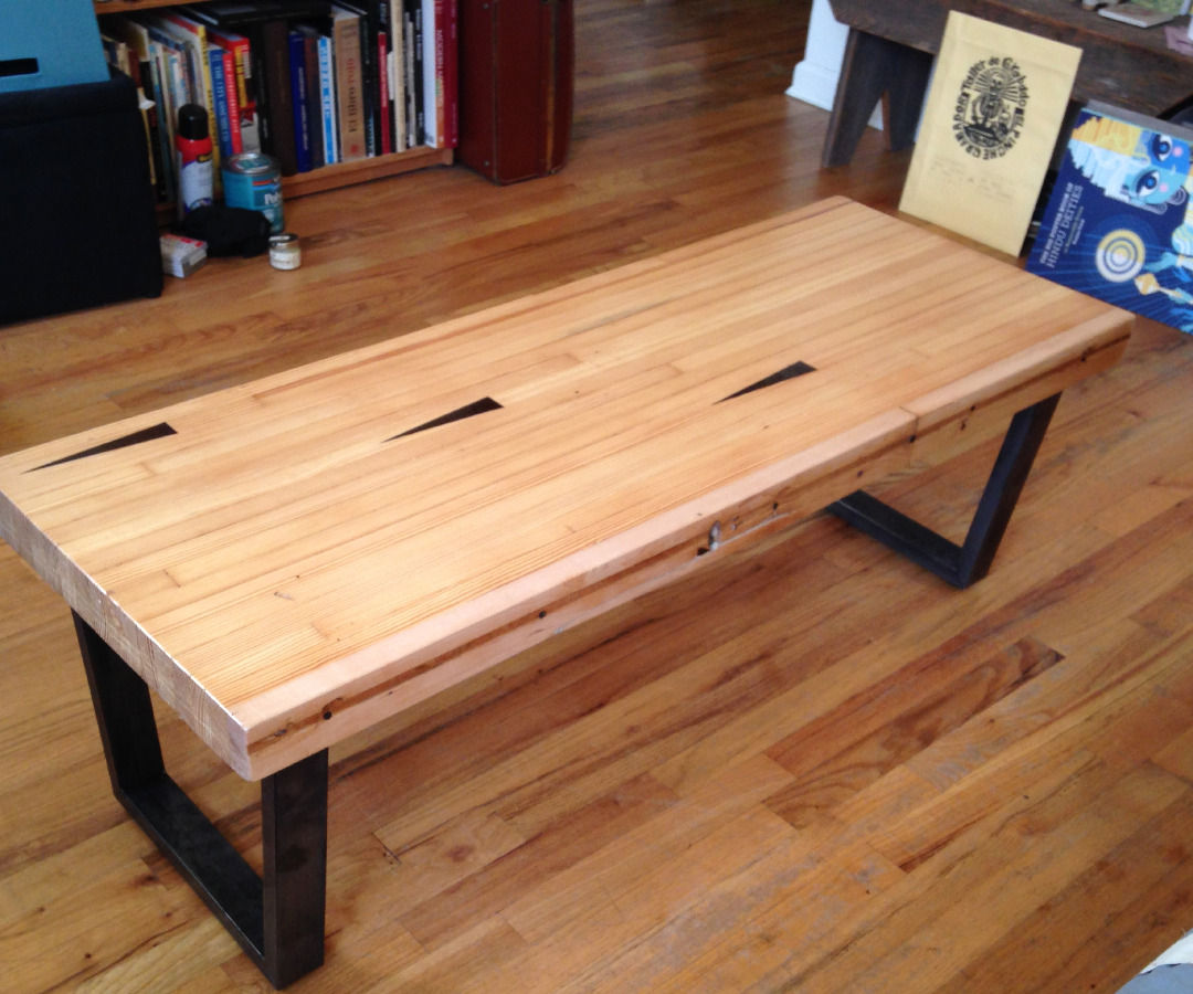 Coffee table from reclaimed bowling alley lane - for a non-woodworker living in tiny apartment