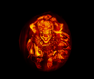 """Pennywise... the Dancing Clown!""  an Instructable on How to Carve a Pumpkin That Replicates the Look of a Shaded Drawing."