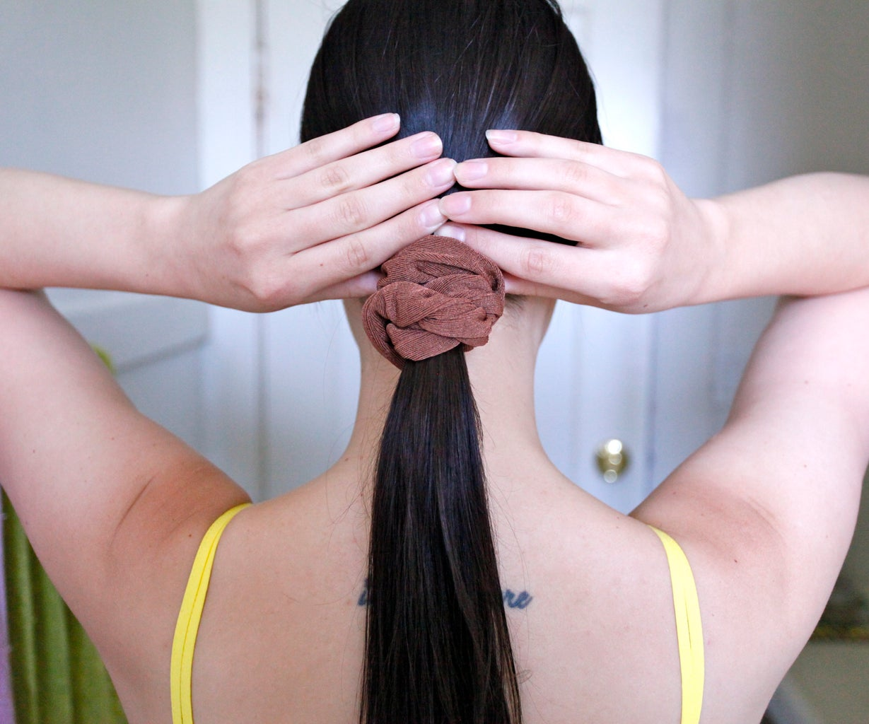 Part Your Hair and Make a Low Ponytail