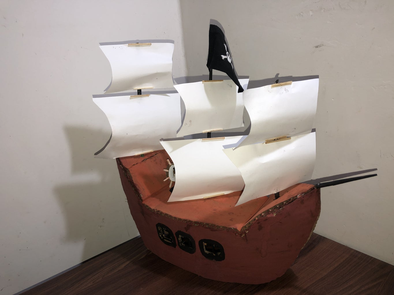 Coloring the Boat and Pasting the Sails and Stick