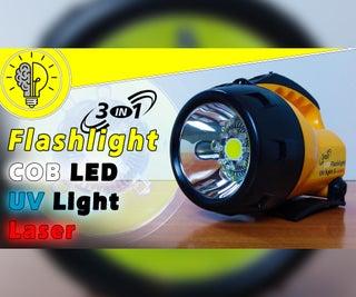The Most Advanced Flashlight - COB LED, UV LED, and Laser Inside