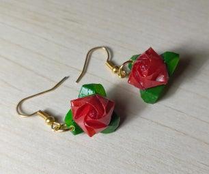 迷你折纸玫瑰耳环