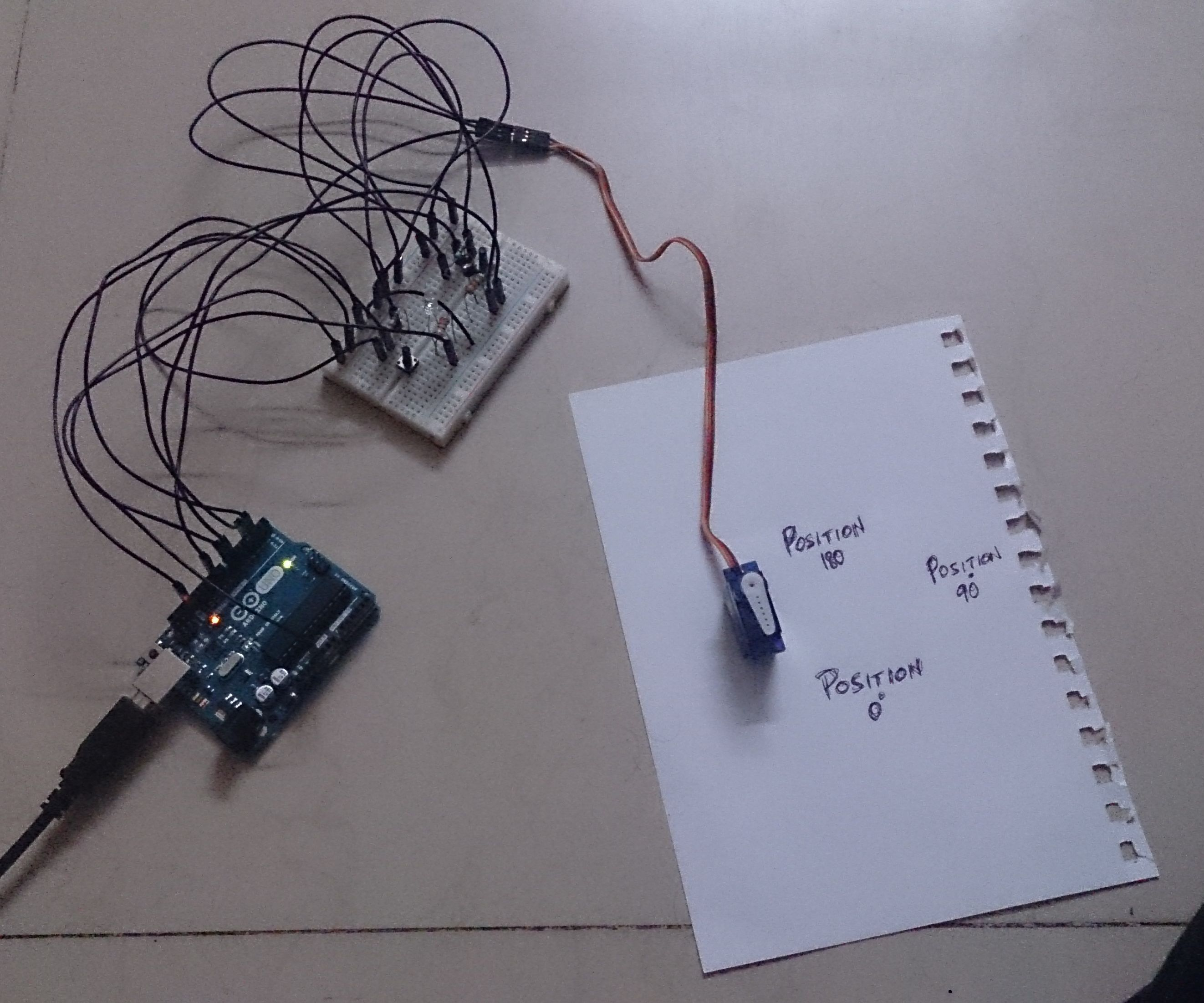 Coupled LED-Servo controller using Arduino