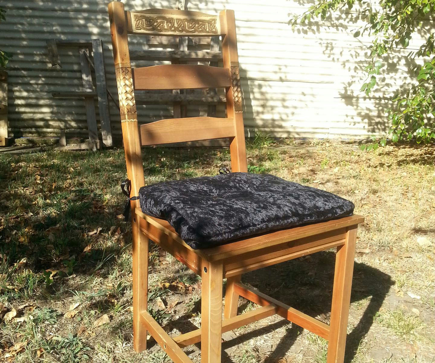Upcycled Carved & Painted Wood Kitchen Chair