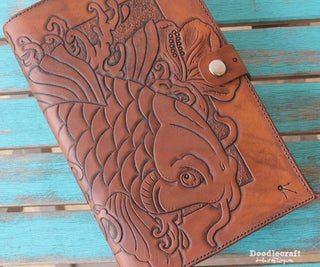 Leather Tooled Book Cover With Koi and Hibiscus!