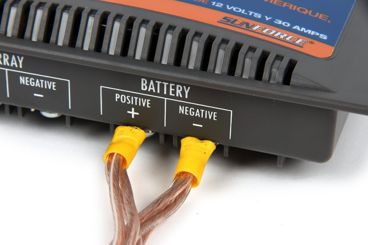 """Connections to Charge Controller """"battery"""" Terminals"""