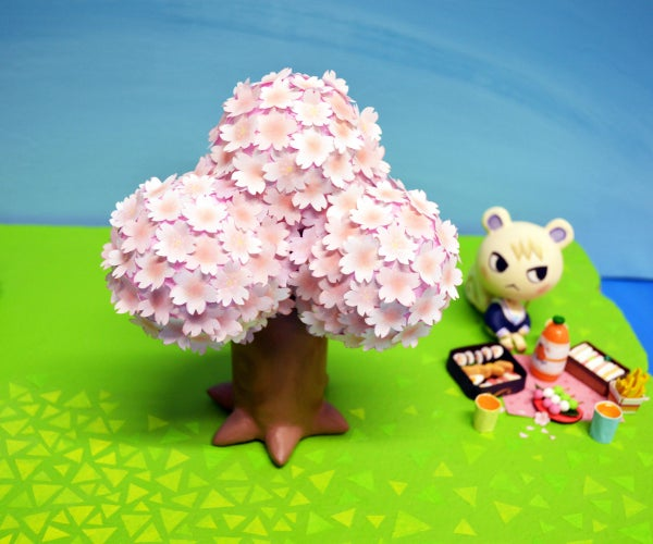 Small Animal Crossing Cherry Blossom Tree With Air Dry Clay
