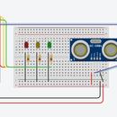 TinkerCAD Ultrasonic Distance Sensor Circuit (Computer Eng Final)