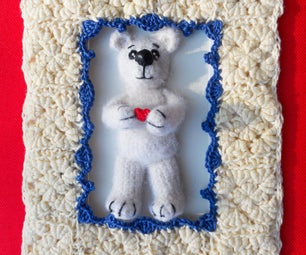"3D Crochet Greeting Card ""Hearty Teddy Bear"""