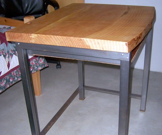 Computer Desk With Steel Tube Stand and Wood Slab Top