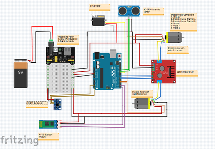 Arduino Robot With Distance , Direction and Degree of Rotation (East, West, North, South) Controlled by Voice Using Bluetooth Module and Autonomous Robot Movement.