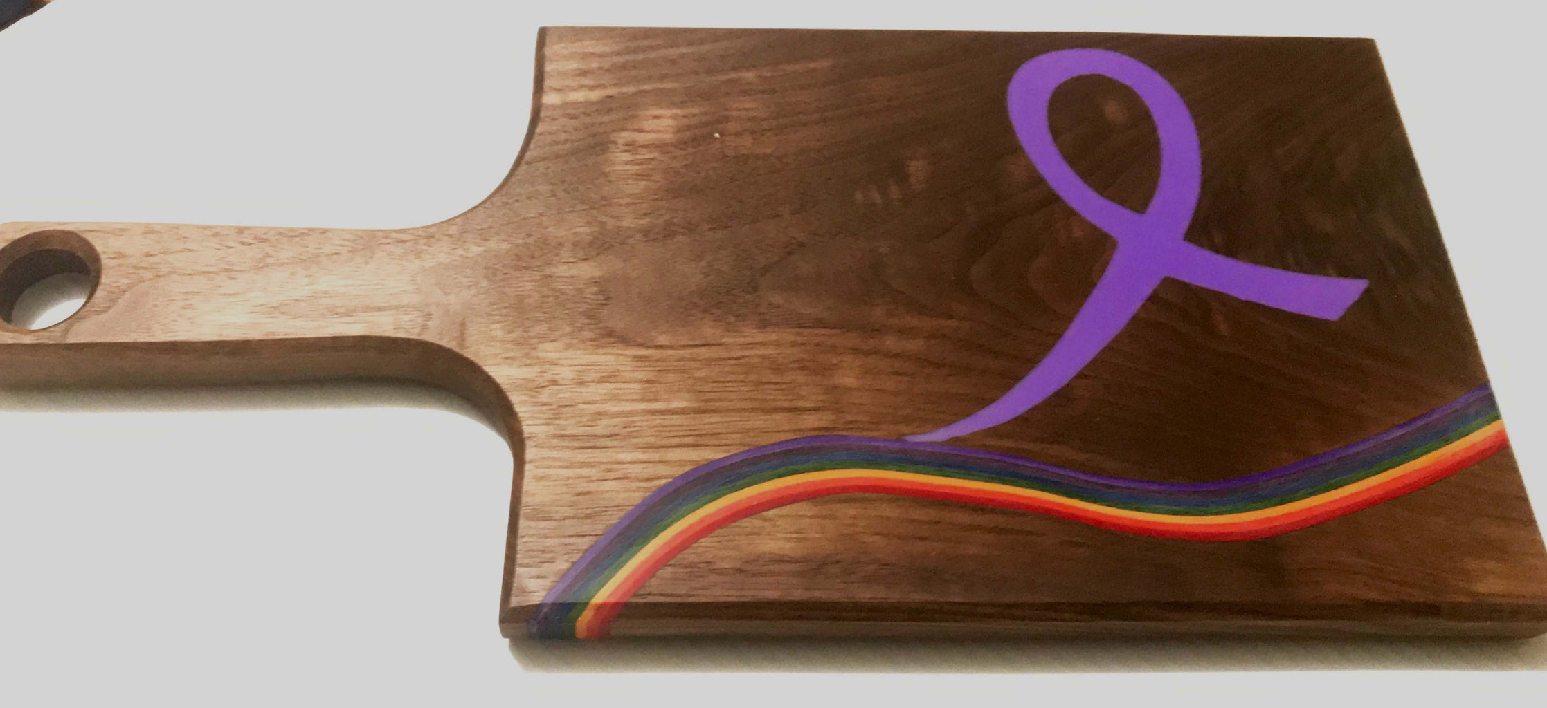Micarta Like You've Never Seen Before, in a Rainbow Themed Cheese Board.