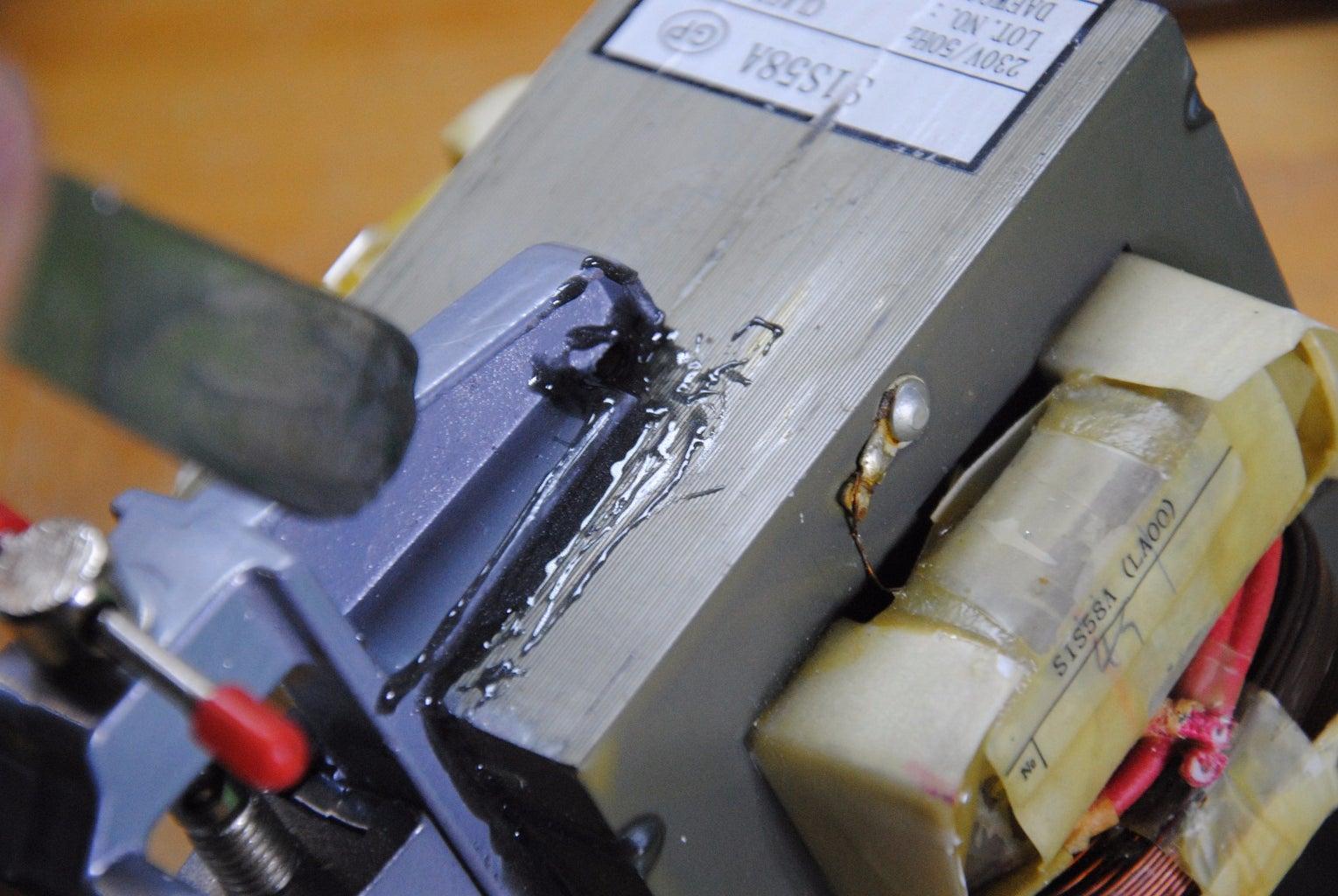 Glue the Vise to the Transformer W/ Epoxy