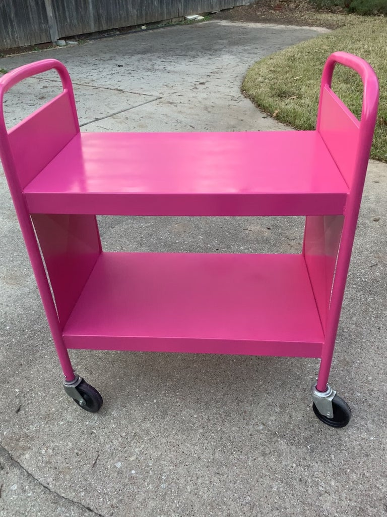 Pink Painted Library Cart